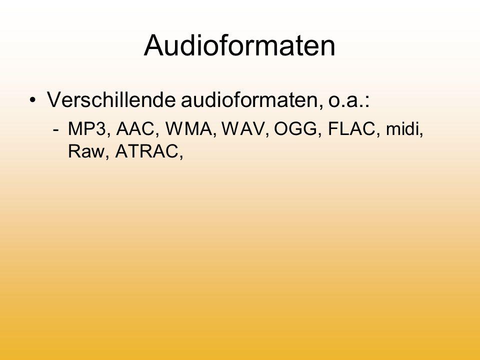Wanneer ontstaan? Midi1983 MP31992 AAC1997 WAV1998 WMA1999 FLAC2001