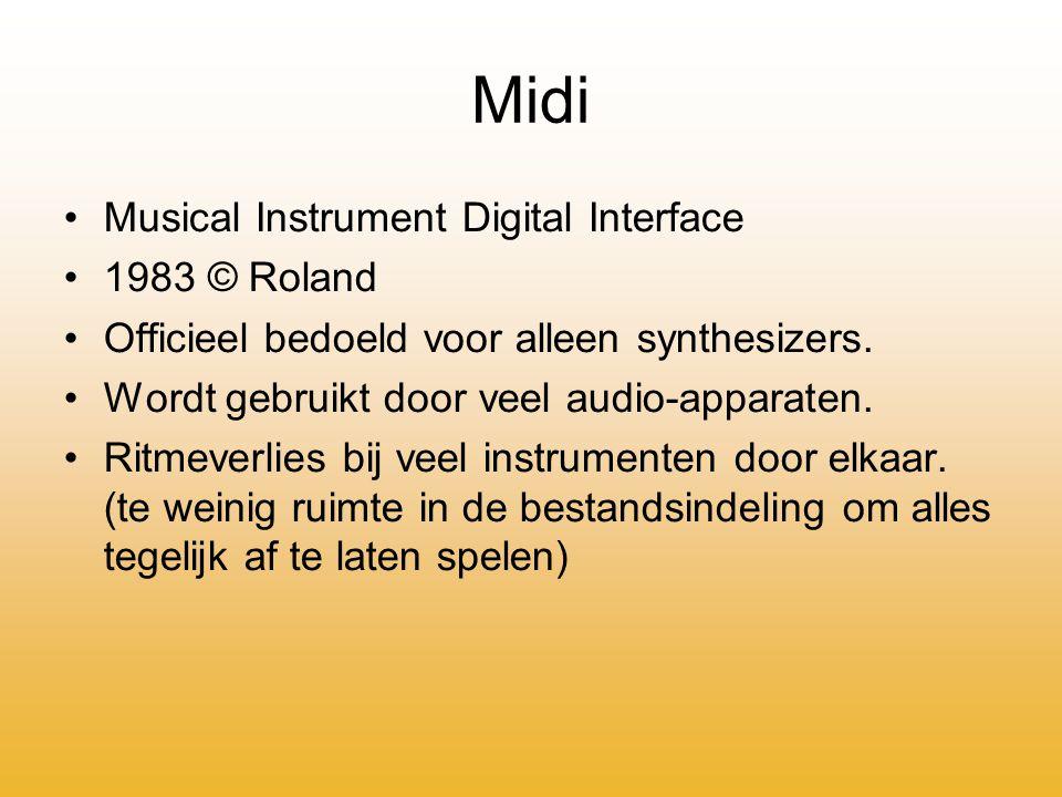 Midi Musical Instrument Digital Interface 1983 © Roland Officieel bedoeld voor alleen synthesizers.