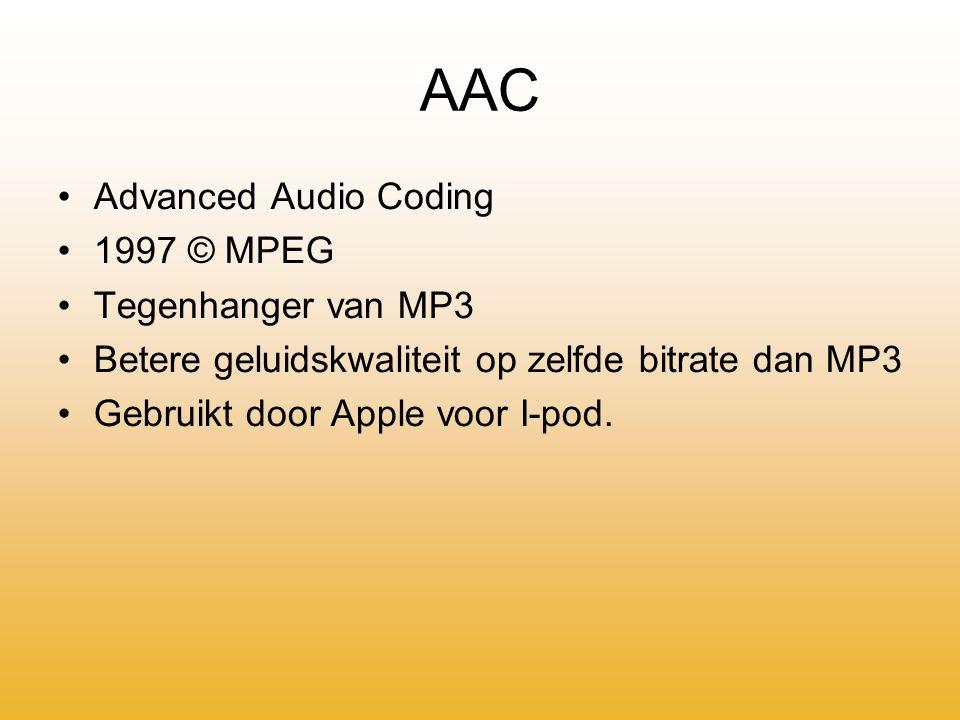 WAV Audio for Windows (afkorting afkomstig van officiële naam: Waveform) 1998 © Microsoft Goede kwaliteit (CD-kwaliteit) Bestand wordt niet veel op internet gezet, vanwege de grote hoeveelheid benodigde schijfruimte.