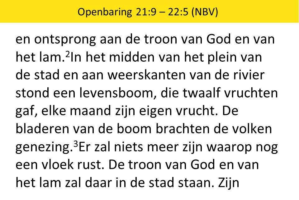 Openbaring 21:9 – 22:5 (NBV) en ontsprong aan de troon van God en van het lam. 2 In het midden van het plein van de stad en aan weerskanten van de riv
