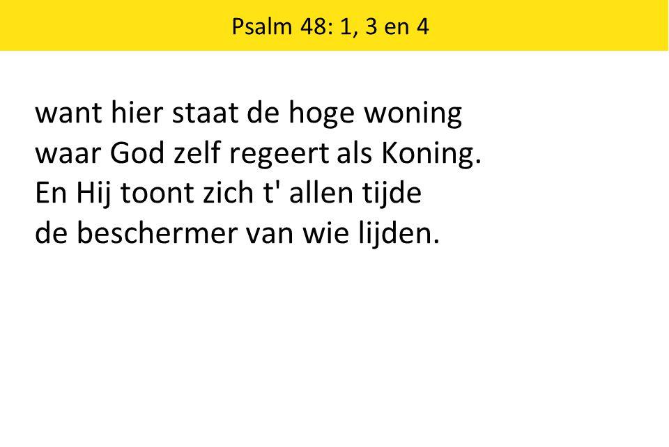 Psalm 48: 1, 3 en 4 want hier staat de hoge woning waar God zelf regeert als Koning. En Hij toont zich t' allen tijde de beschermer van wie lijden.
