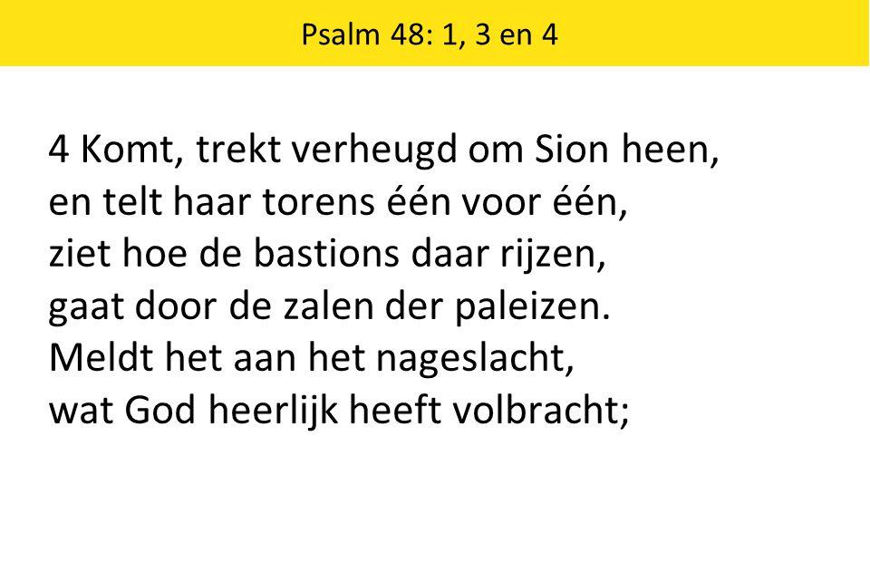 Psalm 48: 1, 3 en 4 4 Komt, trekt verheugd om Sion heen, en telt haar torens één voor één, ziet hoe de bastions daar rijzen, gaat door de zalen der pa