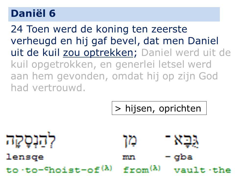 24 Toen werd de koning ten zeerste verheugd en hij gaf bevel, dat men Daniel uit de kuil zou optrekken; Daniel werd uit de kuil opgetrokken, en generl