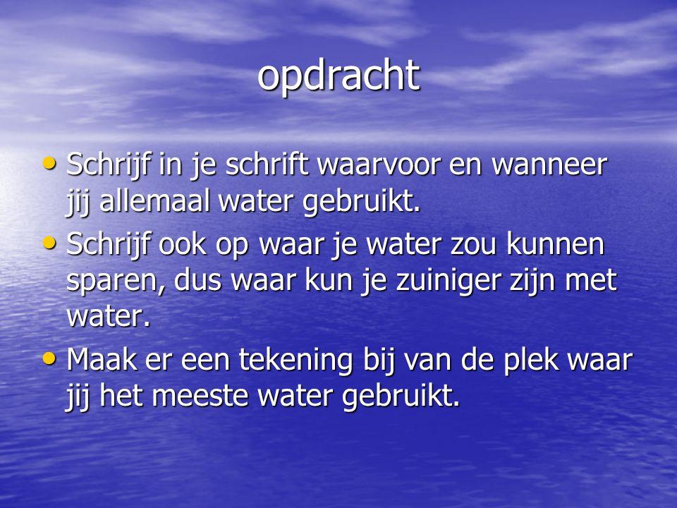opdracht Schrijf in je schrift waarvoor en wanneer jij allemaal water gebruikt. Schrijf in je schrift waarvoor en wanneer jij allemaal water gebruikt.