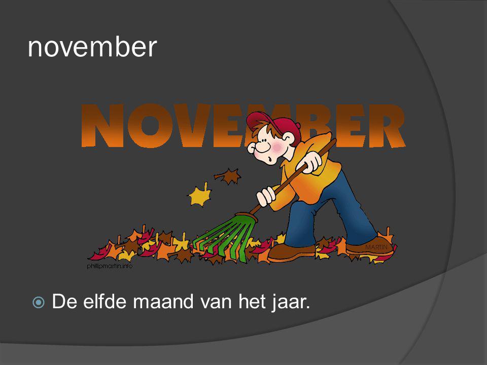 november  De elfde maand van het jaar.