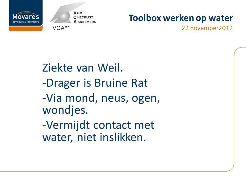 Toolbox werken op water 22 november2012 Ziekte van Weil. -Drager is Bruine Rat -Via mond, neus, ogen, wondjes. -Vermijdt contact met water, niet insli