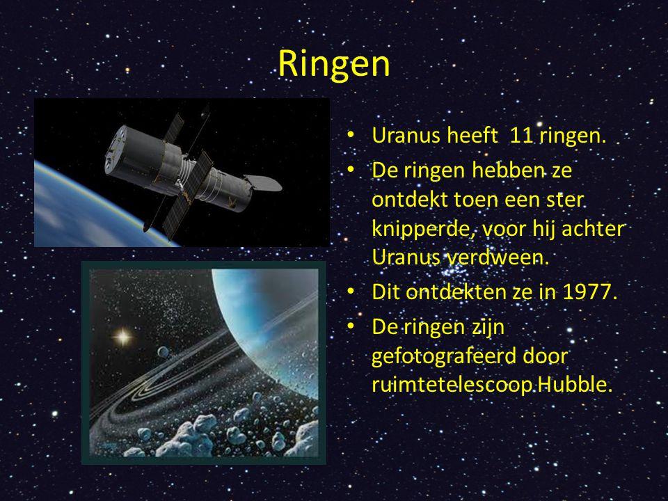 Ringen Uranus heeft 11 ringen. De ringen hebben ze ontdekt toen een ster knipperde, voor hij achter Uranus verdween. Dit ontdekten ze in 1977. De ring