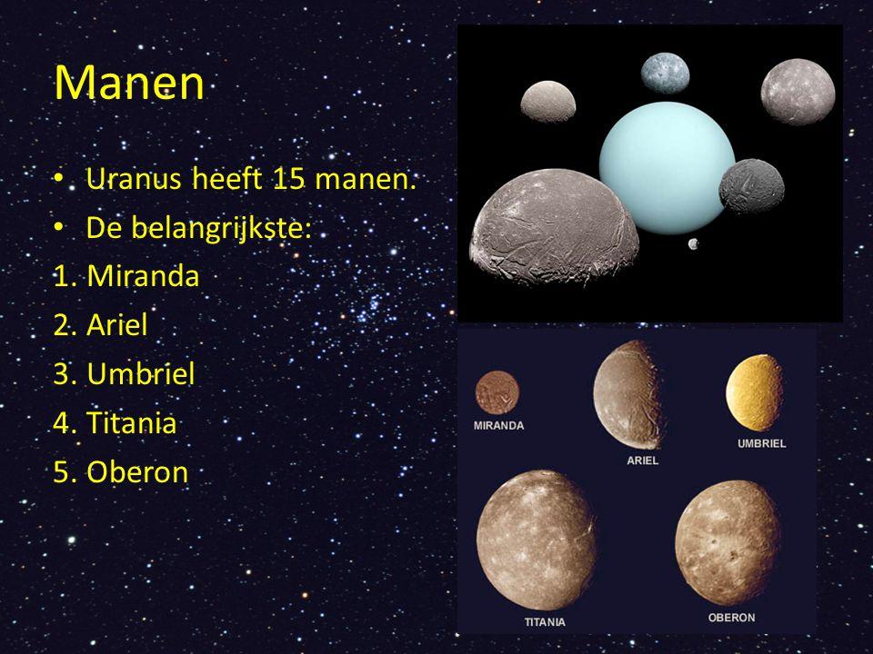 Manen Uranus heeft 15 manen. De belangrijkste: 1. Miranda 2. Ariel 3. Umbriel 4. Titania 5. Oberon