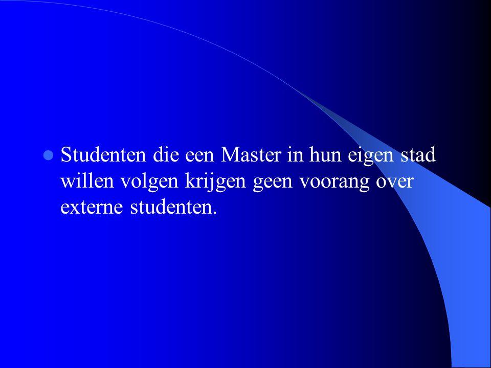 Studenten die een Master in hun eigen stad willen volgen krijgen geen voorang over externe studenten.