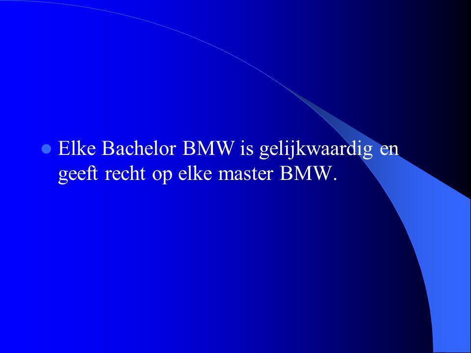 Elke Bachelor BMW is gelijkwaardig en geeft recht op elke master BMW.