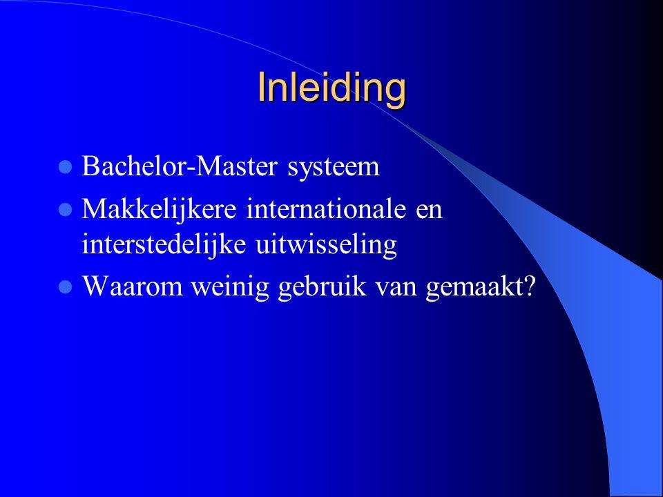 Inleiding Bachelor-Master systeem Makkelijkere internationale en interstedelijke uitwisseling Waarom weinig gebruik van gemaakt?