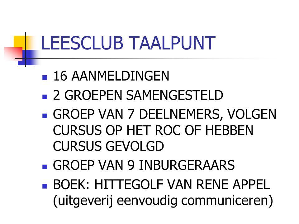 LEESCLUB TAALPUNT 16 AANMELDINGEN 2 GROEPEN SAMENGESTELD GROEP VAN 7 DEELNEMERS, VOLGEN CURSUS OP HET ROC OF HEBBEN CURSUS GEVOLGD GROEP VAN 9 INBURGE