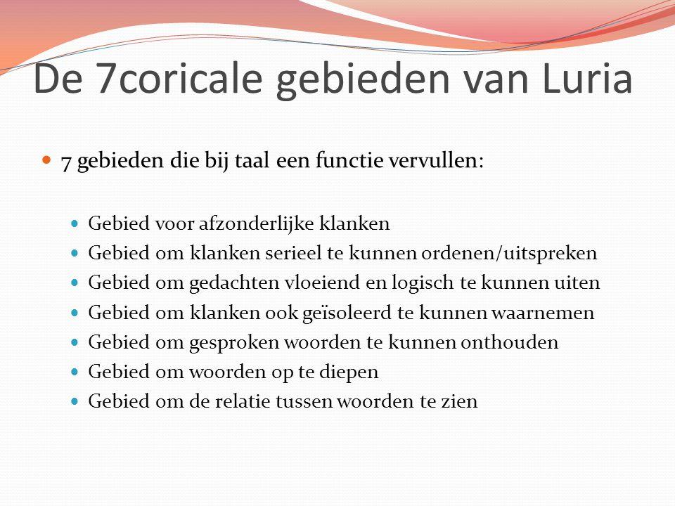 De 7coricale gebieden van Luria 7 gebieden die bij taal een functie vervullen: Gebied voor afzonderlijke klanken Gebied om klanken serieel te kunnen ordenen/uitspreken Gebied om gedachten vloeiend en logisch te kunnen uiten Gebied om klanken ook geïsoleerd te kunnen waarnemen Gebied om gesproken woorden te kunnen onthouden Gebied om woorden op te diepen Gebied om de relatie tussen woorden te zien