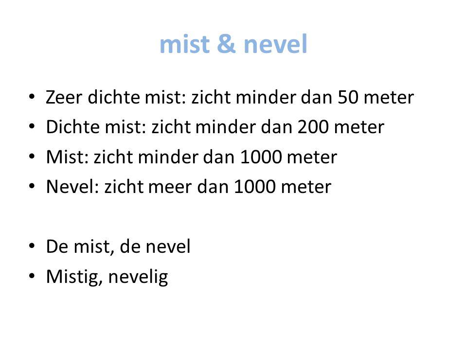 mist & nevel Zeer dichte mist: zicht minder dan 50 meter Dichte mist: zicht minder dan 200 meter Mist: zicht minder dan 1000 meter Nevel: zicht meer dan 1000 meter De mist, de nevel Mistig, nevelig