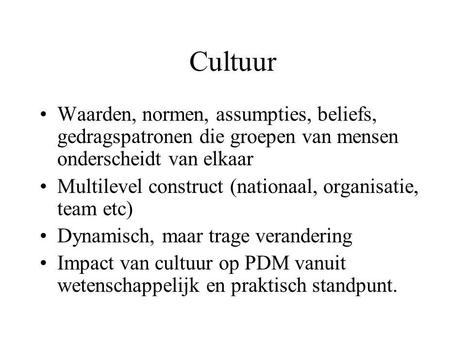 Cultuur Waarden, normen, assumpties, beliefs, gedragspatronen die groepen van mensen onderscheidt van elkaar Multilevel construct (nationaal, organisatie, team etc) Dynamisch, maar trage verandering Impact van cultuur op PDM vanuit wetenschappelijk en praktisch standpunt.