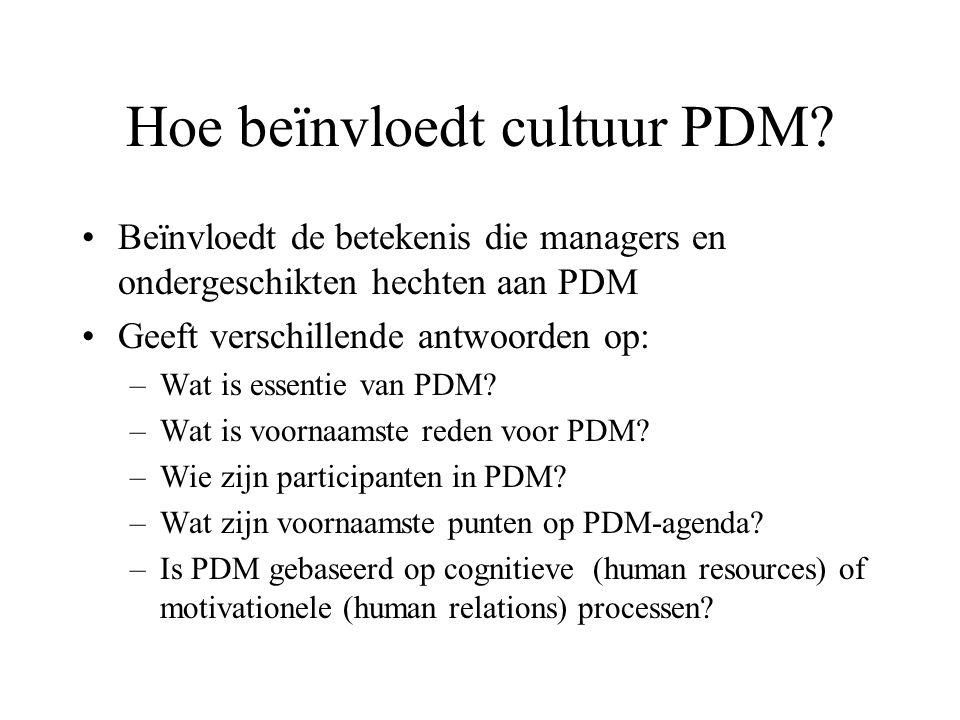 Hoe beïnvloedt cultuur PDM.