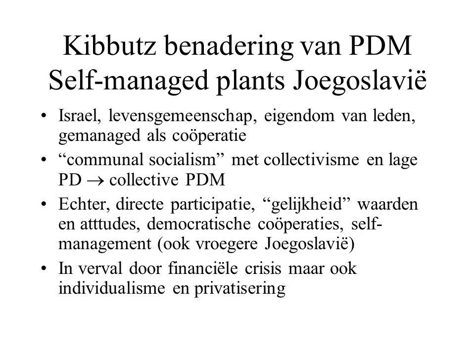 Kibbutz benadering van PDM Self-managed plants Joegoslavië Israel, levensgemeenschap, eigendom van leden, gemanaged als coöperatie communal socialism met collectivisme en lage PD  collective PDM Echter, directe participatie, gelijkheid waarden en atttudes, democratische coöperaties, self- management (ook vroegere Joegoslavië) In verval door financiële crisis maar ook individualisme en privatisering