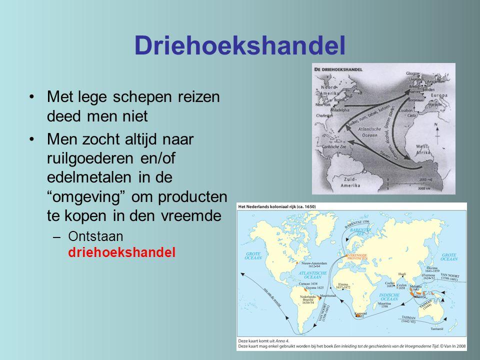 """Driehoekshandel Met lege schepen reizen deed men niet Men zocht altijd naar ruilgoederen en/of edelmetalen in de """"omgeving"""" om producten te kopen in d"""