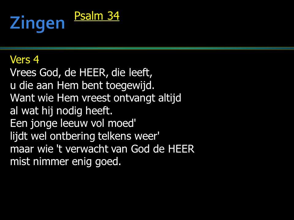 Vers 4 Vrees God, de HEER, die leeft, u die aan Hem bent toegewijd. Want wie Hem vreest ontvangt altijd al wat hij nodig heeft. Een jonge leeuw vol mo
