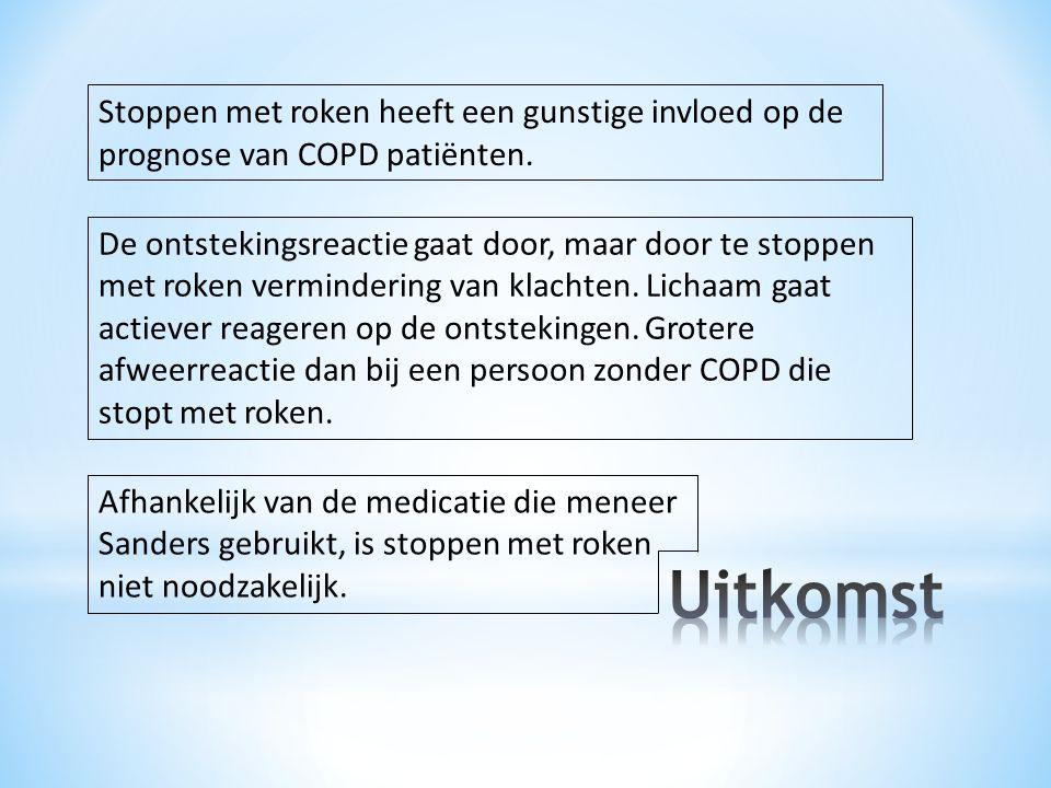 De ontstekingsreactie gaat door, maar door te stoppen met roken vermindering van klachten. Lichaam gaat actiever reageren op de ontstekingen. Grotere