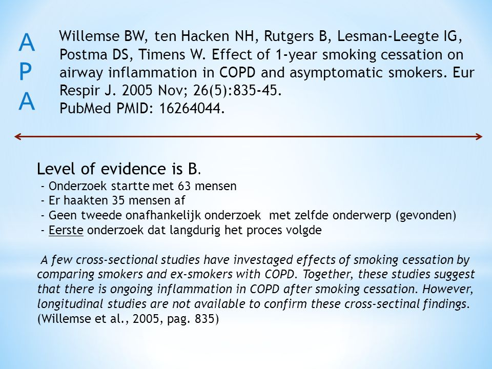 Willemse BW, ten Hacken NH, Rutgers B, Lesman-Leegte IG, Postma DS, Timens W. Effect of 1-year smoking cessation on airway inflammation in COPD and as