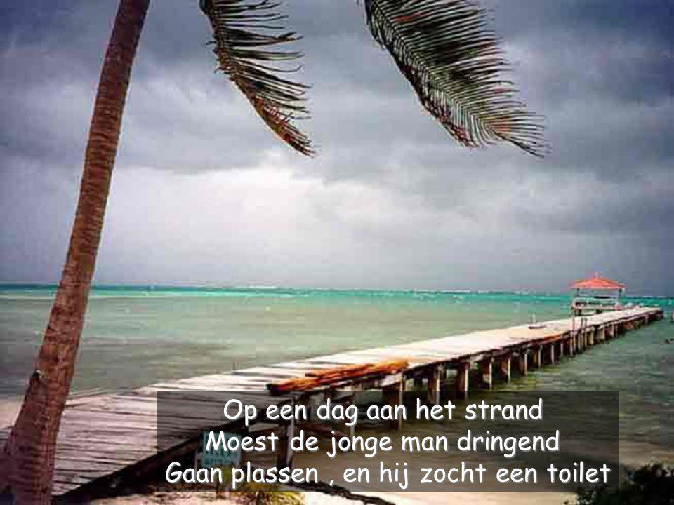 Op een dag aan het strand Moest de jonge man dringend Gaan plassen, en hij zocht een toilet