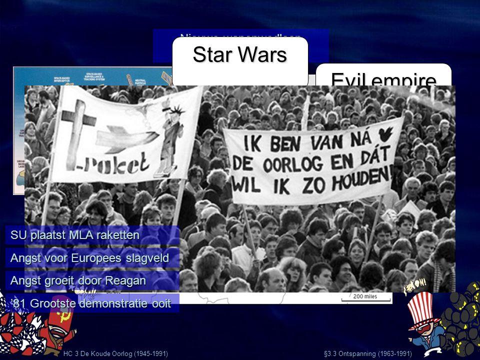 HC 3 De Koude Oorlog (1945-1991) §3.3 Ontspanning (1963-1991) Nieuwe wapenwedloop va 1975 Evil empire Star Wars SU plaatst MLA raketten Angst voor Eur