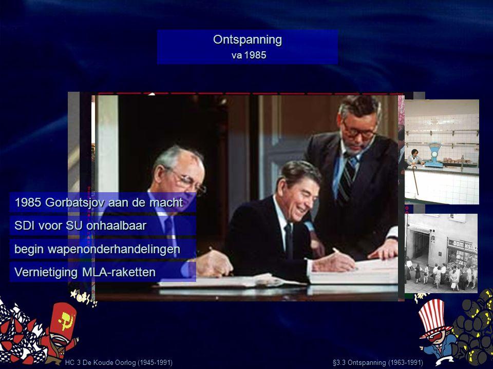 HC 3 De Koude Oorlog (1945-1991) §3.3 Ontspanning (1963-1991) Ontspanning va 1985 1985 Gorbatsjov aan de macht SDI voor SU onhaalbaar begin wapenonder