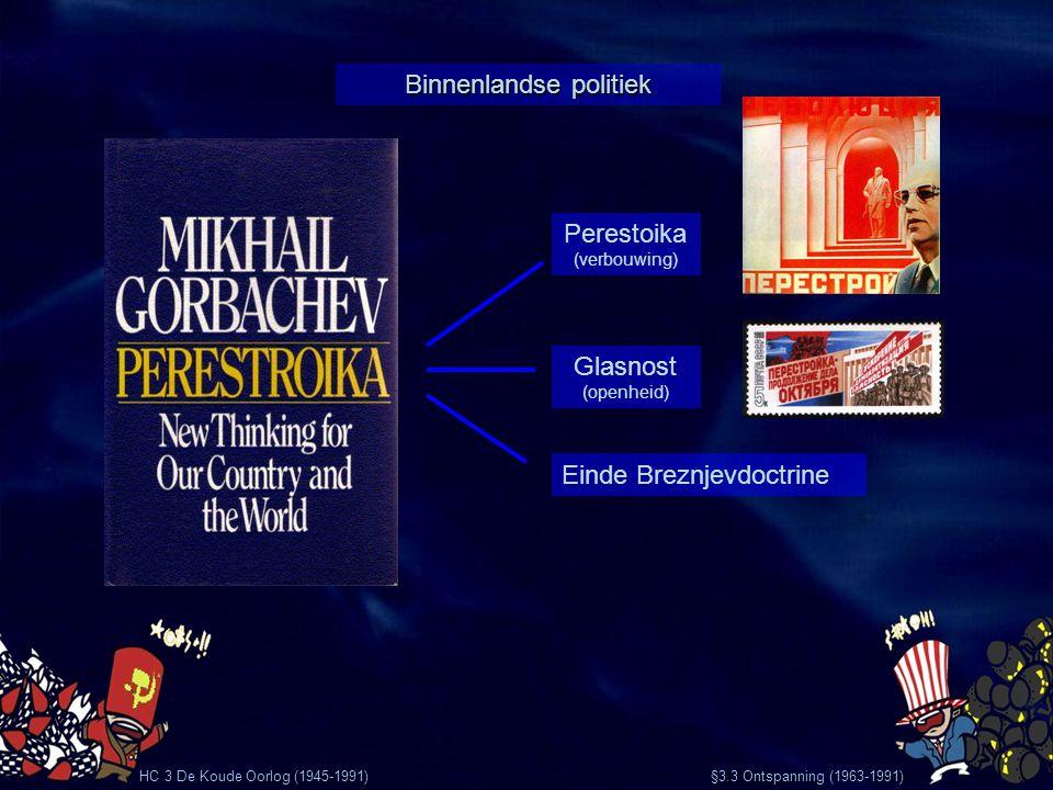 HC 3 De Koude Oorlog (1945-1991) §3.3 Ontspanning (1963-1991) Vrije verkiezingen in Polen CP van Hongarije heft zich op DDR-burgers proberen te vluchten Grote protesten in de DDR Val van de Muur 9 november 1989 Gevolgen einde Breznjevdoctrine 1990 Hereniging Duitsland De SU valt uiteen en wordt weer Rusland