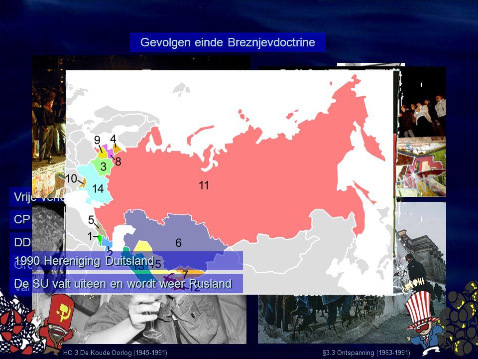 HC 3 De Koude Oorlog (1945-1991) §3.3 Ontspanning (1963-1991) Vrije verkiezingen in Polen CP van Hongarije heft zich op DDR-burgers proberen te vlucht