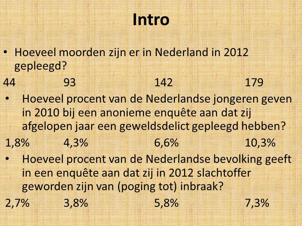 Intro Hoeveel moorden zijn er in Nederland in 2012 gepleegd? 4493142179 Hoeveel procent van de Nederlandse jongeren geven in 2010 bij een anonieme enq