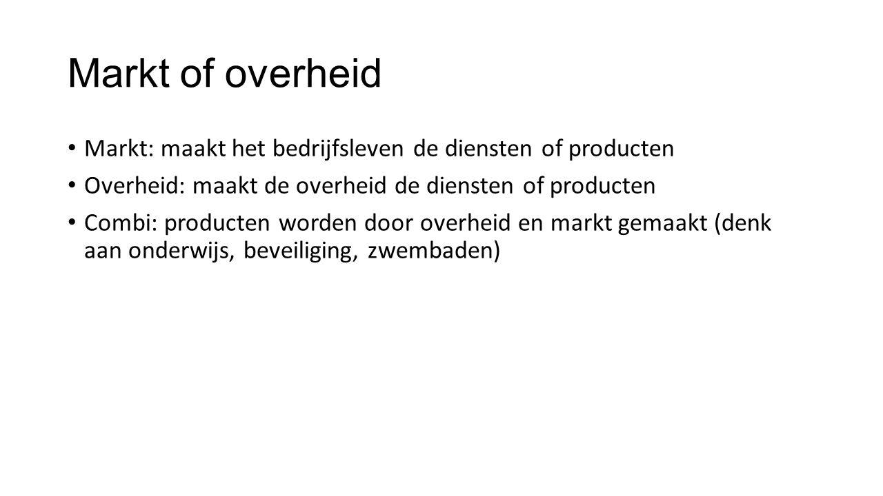 Markt: maakt het bedrijfsleven de diensten of producten Overheid: maakt de overheid de diensten of producten Combi: producten worden door overheid en