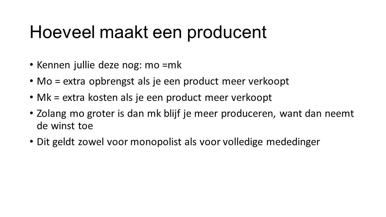 Hoeveel maakt een producent Kennen jullie deze nog: mo =mk Mo = extra opbrengst als je een product meer verkoopt Mk = extra kosten als je een product