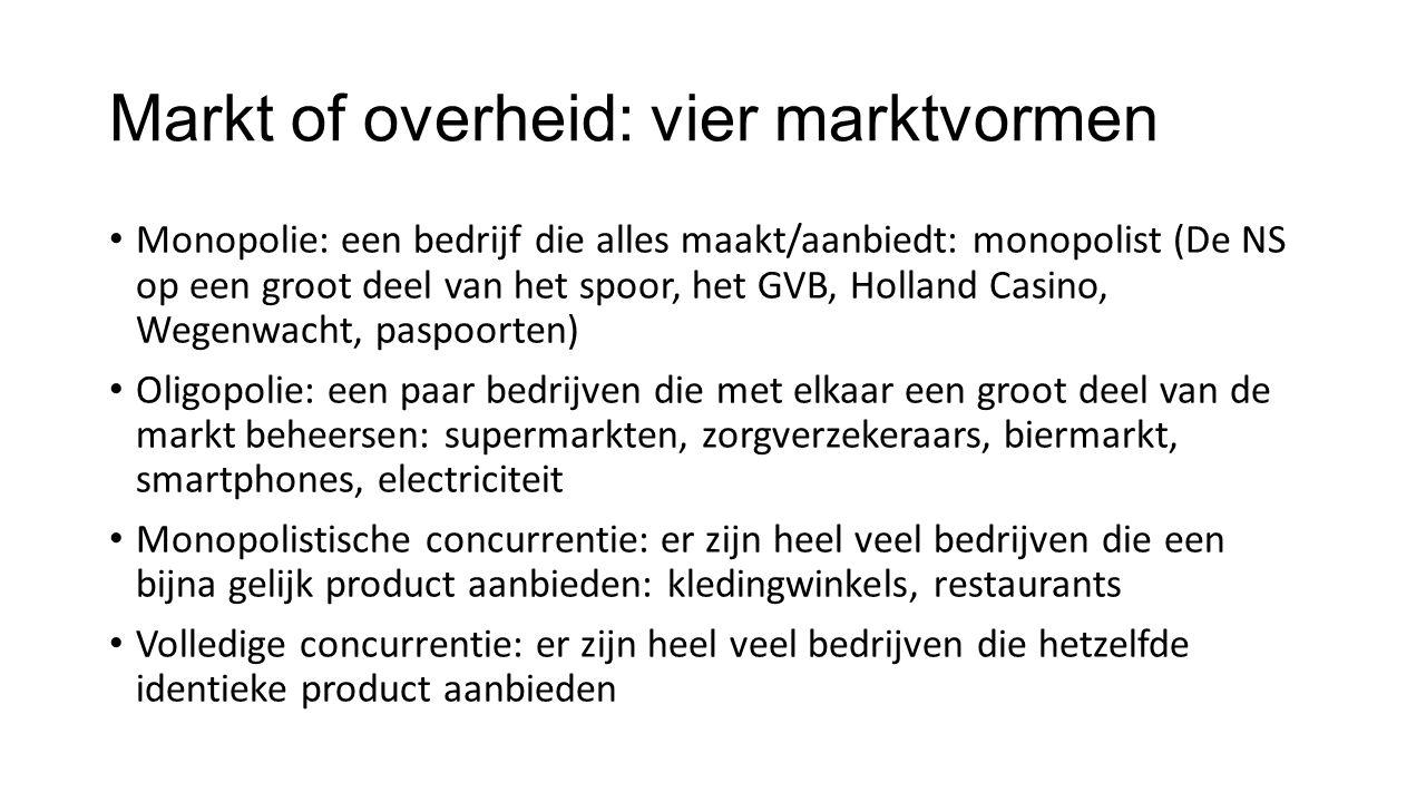 Markt of overheid: vier marktvormen Monopolie: een bedrijf die alles maakt/aanbiedt: monopolist (De NS op een groot deel van het spoor, het GVB, Holla