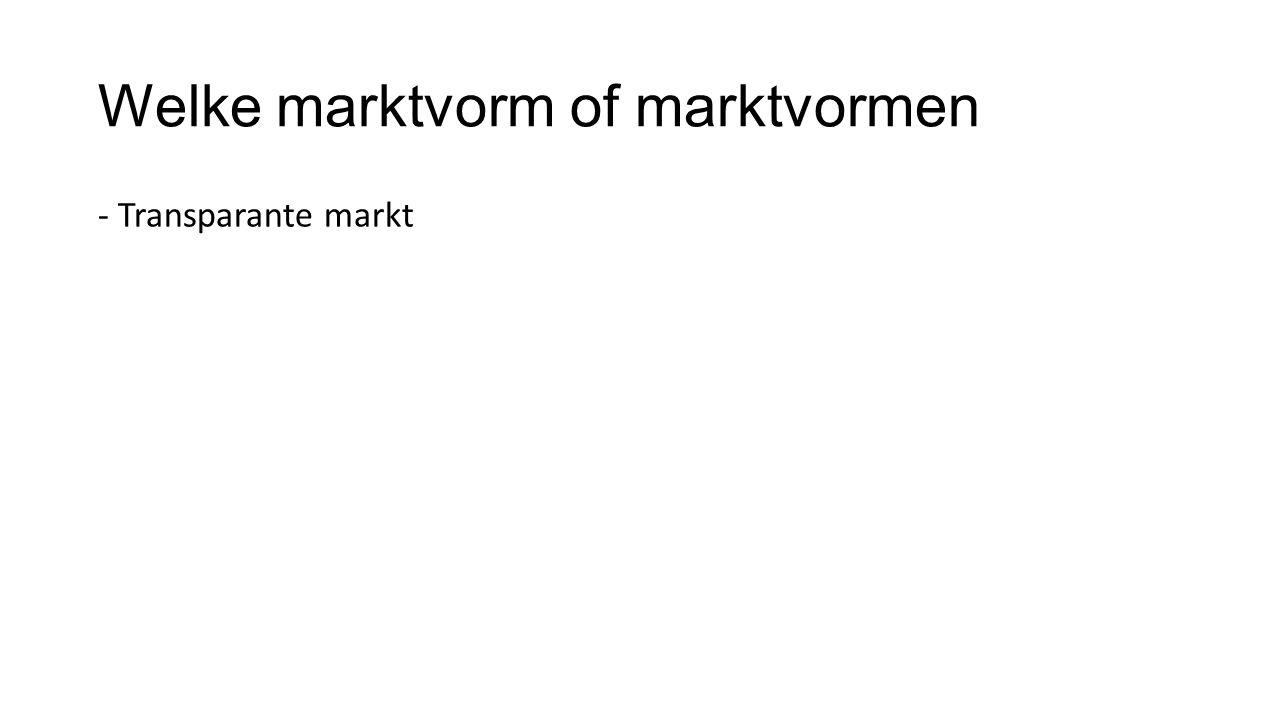 Welke marktvorm of marktvormen - Transparante markt