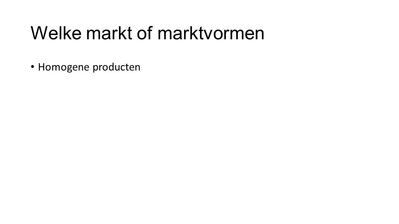 Welke markt of marktvormen Homogene producten