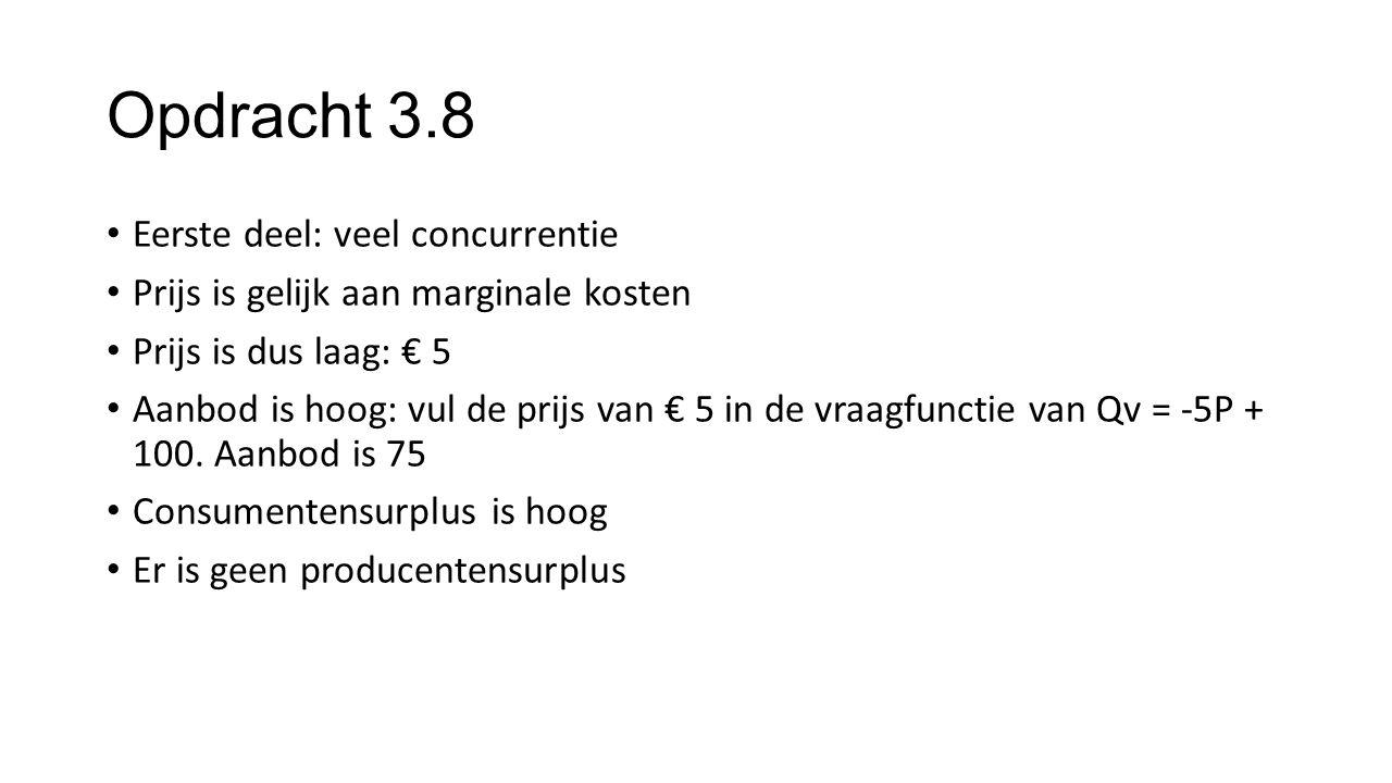 Opdracht 3.8 Eerste deel: veel concurrentie Prijs is gelijk aan marginale kosten Prijs is dus laag: € 5 Aanbod is hoog: vul de prijs van € 5 in de vra