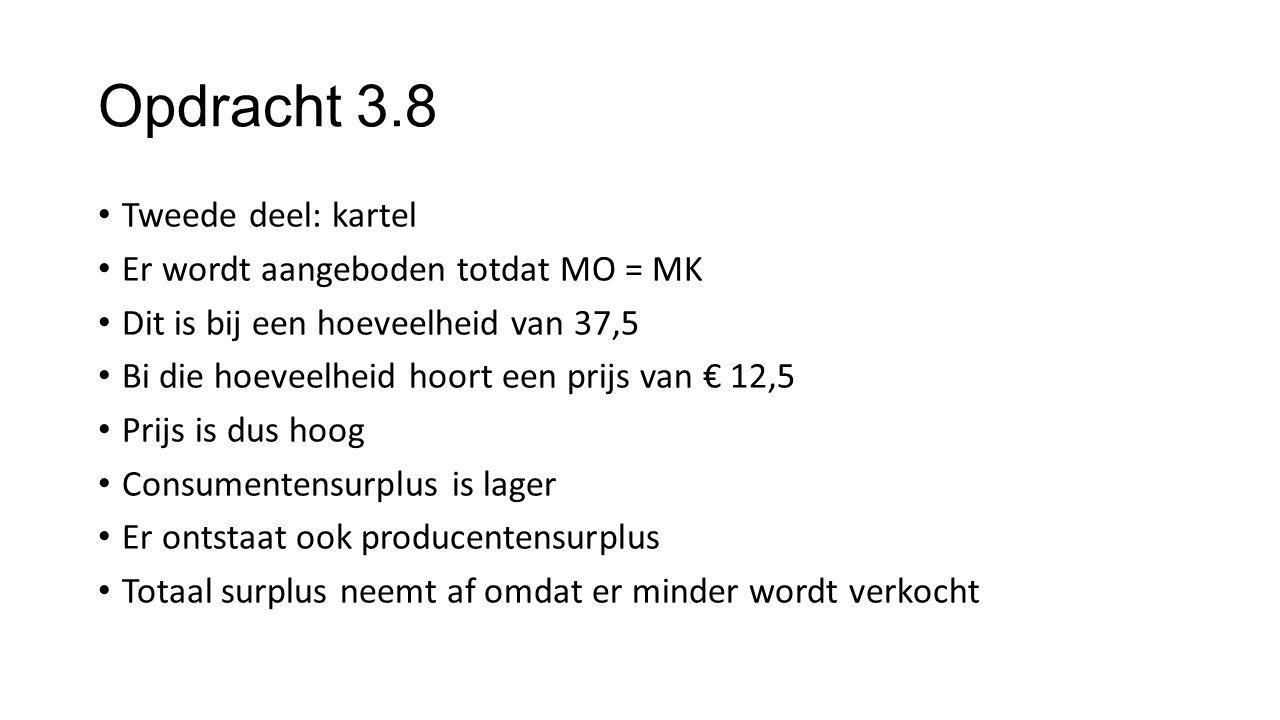 Opdracht 3.8 Tweede deel: kartel Er wordt aangeboden totdat MO = MK Dit is bij een hoeveelheid van 37,5 Bi die hoeveelheid hoort een prijs van € 12,5