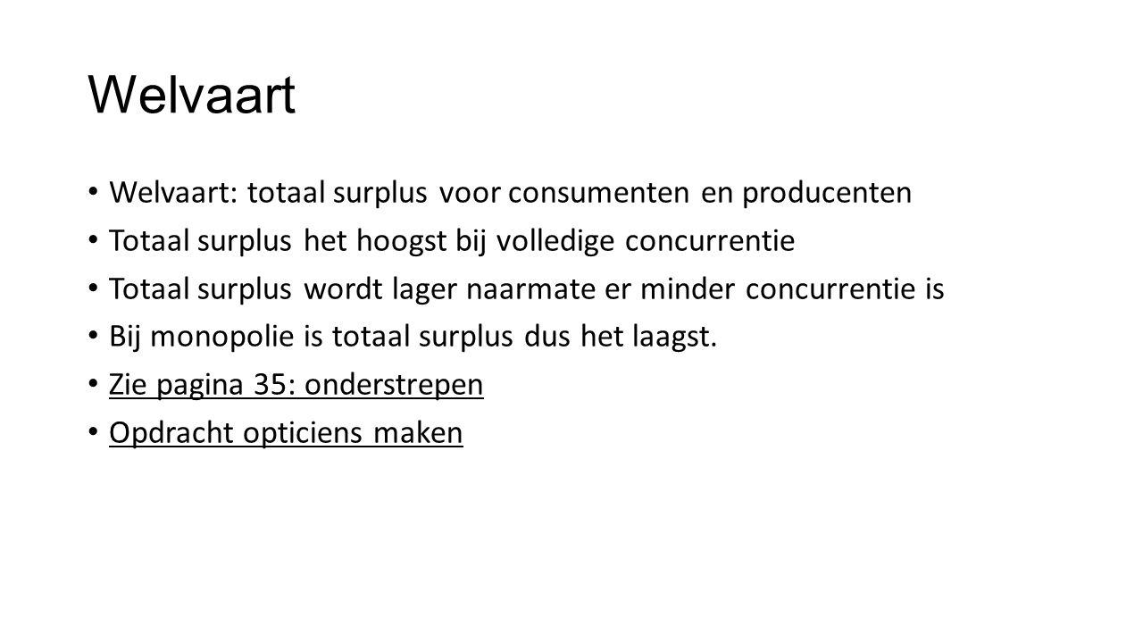 Welvaart Welvaart: totaal surplus voor consumenten en producenten Totaal surplus het hoogst bij volledige concurrentie Totaal surplus wordt lager naar