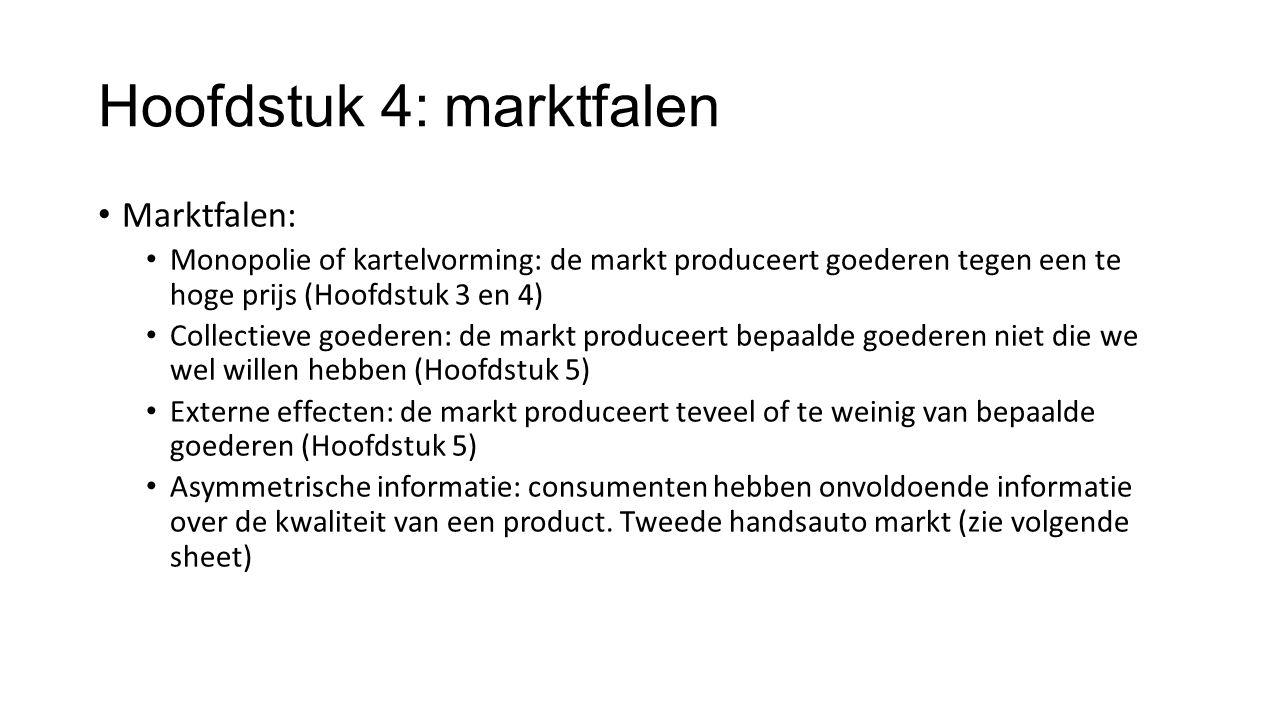 Hoofdstuk 4: marktfalen Marktfalen: Monopolie of kartelvorming: de markt produceert goederen tegen een te hoge prijs (Hoofdstuk 3 en 4) Collectieve go