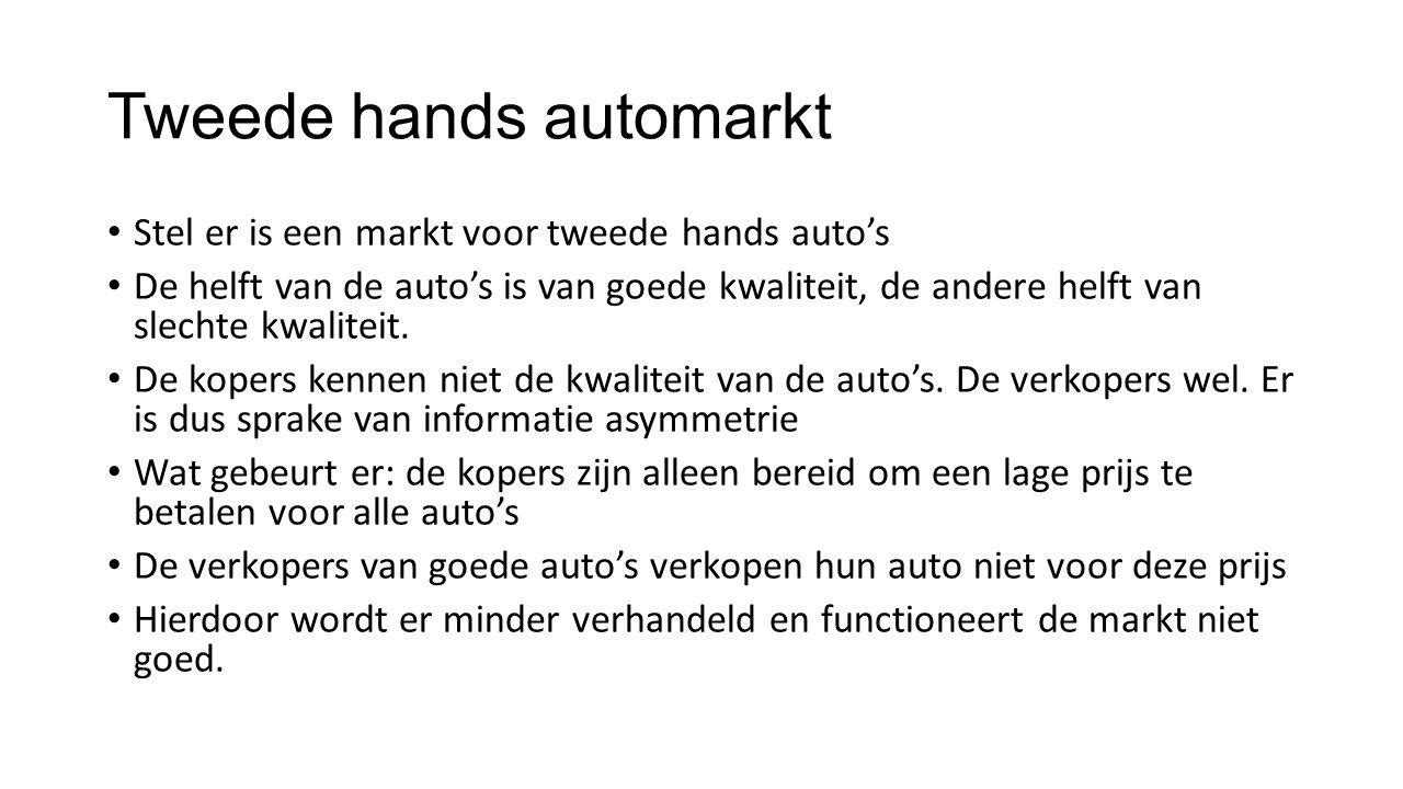 Tweede hands automarkt Stel er is een markt voor tweede hands auto's De helft van de auto's is van goede kwaliteit, de andere helft van slechte kwalit