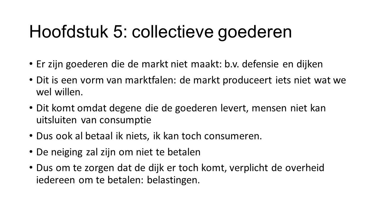 Hoofdstuk 5: collectieve goederen Er zijn goederen die de markt niet maakt: b.v. defensie en dijken Dit is een vorm van marktfalen: de markt produceer