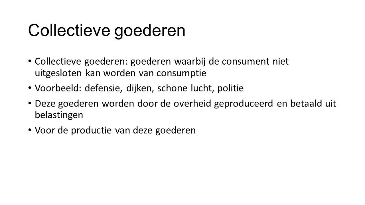Collectieve goederen Collectieve goederen: goederen waarbij de consument niet uitgesloten kan worden van consumptie Voorbeeld: defensie, dijken, schon