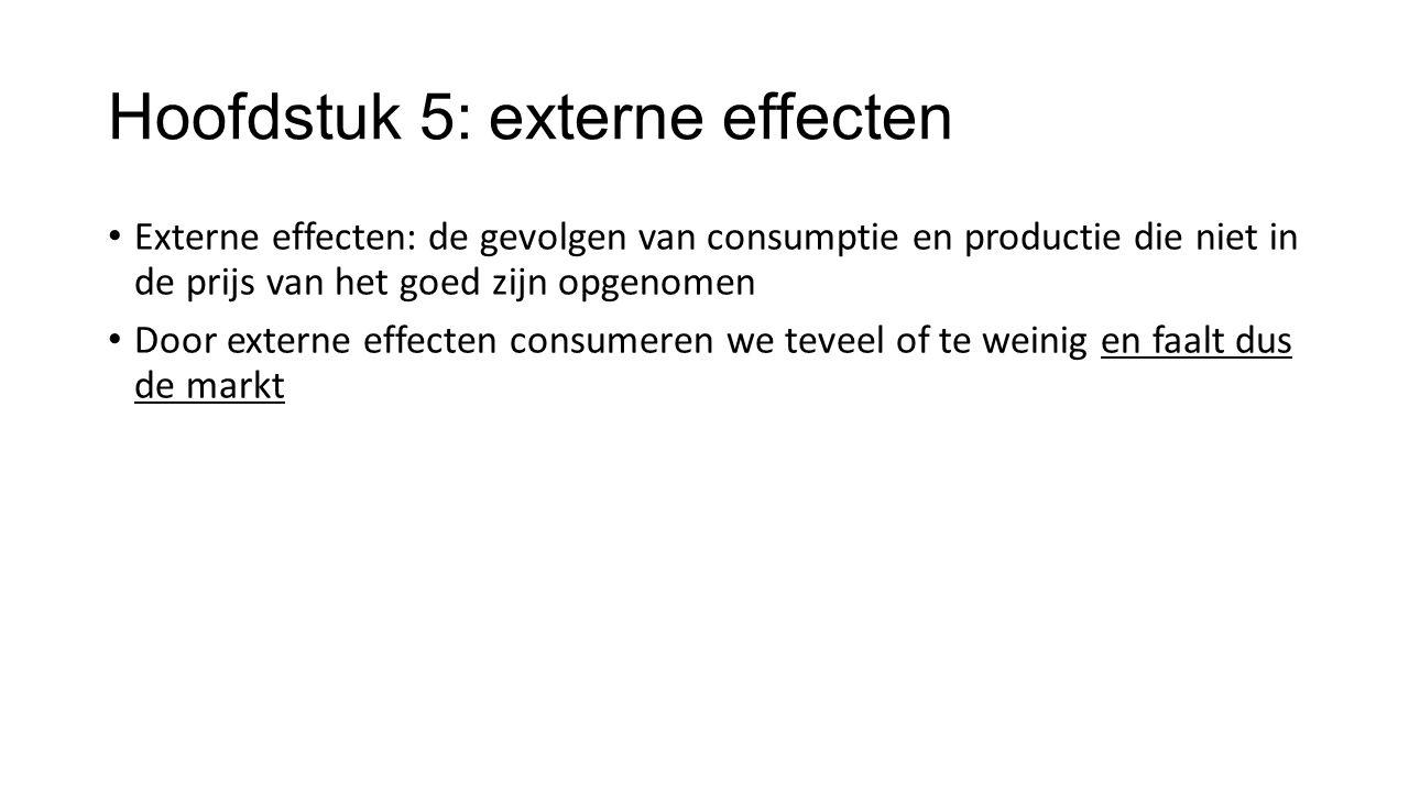 Hoofdstuk 5: externe effecten Externe effecten: de gevolgen van consumptie en productie die niet in de prijs van het goed zijn opgenomen Door externe