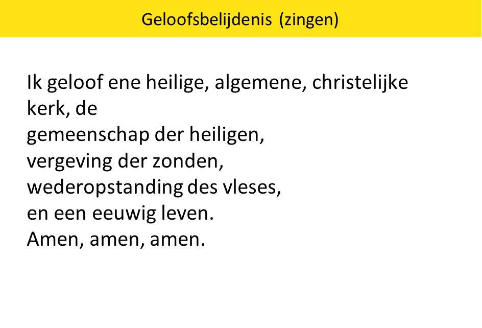 Geloofsbelijdenis (zingen) Ik geloof ene heilige, algemene, christelijke kerk, de gemeenschap der heiligen, vergeving der zonden, wederopstanding des