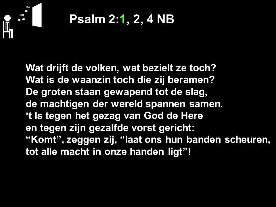 Psalm 2:1, 2, 4 NB Wat drijft de volken, wat bezielt ze toch? Wat is de waanzin toch die zij beramen? De groten staan gewapend tot de slag, de machtig