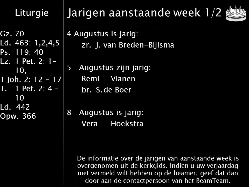 Liturgie Gz.70 Ld.463: 1,2,4,5 Ps.119: 40 Lz.1 Pet. 2: 1- 10, 1 Joh. 2: 12 - 17 T.1 Pet. 2: 4 – 10 Ld. 442 Opw.366 Jarigen aanstaande week 1/2 4August