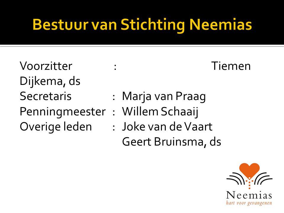 Voorzitter:Tiemen Dijkema, ds Secretaris:Marja van Praag Penningmeester : Willem Schaaij Overige leden: Joke van de Vaart Geert Bruinsma, ds