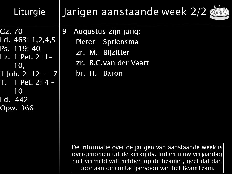 Liturgie Gz.70 Ld.463: 1,2,4,5 Ps.119: 40 Lz.1 Pet. 2: 1- 10, 1 Joh. 2: 12 - 17 T.1 Pet. 2: 4 – 10 Ld. 442 Opw.366 Jarigen aanstaande week 2/2 9August