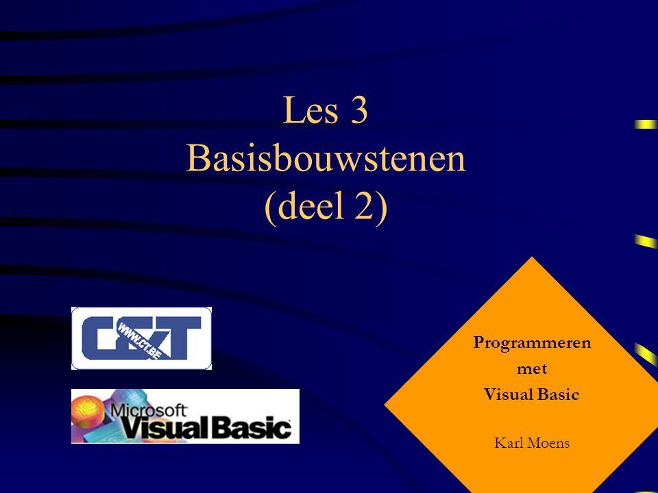 Programmeren met Visula Basic – Les 3 Lussen – For … Next De For -instructie: initialiseert de teller met de beginwaarde test de teller t.o.v.